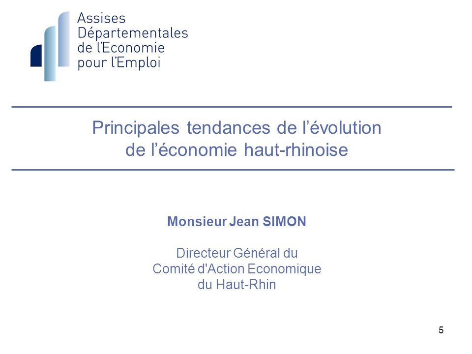 5 Principales tendances de lévolution de léconomie haut-rhinoise Monsieur Jean SIMON Directeur Général du Comité d'Action Economique du Haut-Rhin