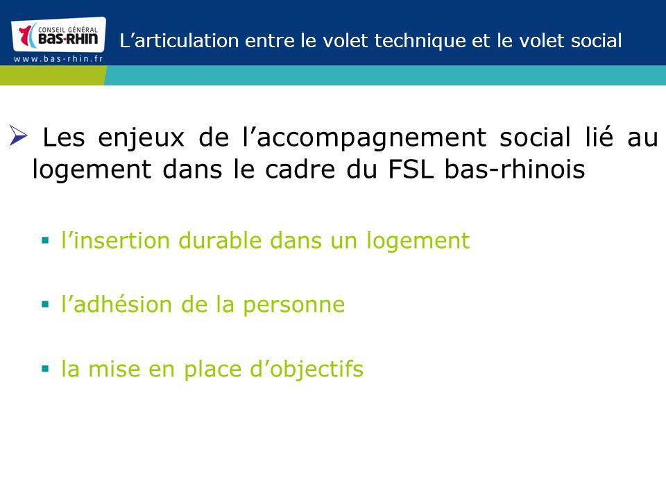 Larticulation entre le volet technique et le volet social Les enjeux de laccompagnement social lié au logement dans le cadre du FSL bas-rhinois linser