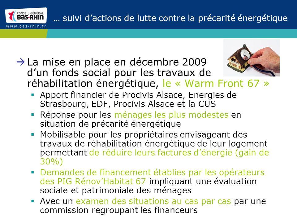 … suivi dactions de lutte contre la précarité énergétique La mise en place en décembre 2009 dun fonds social pour les travaux de réhabilitation énergé