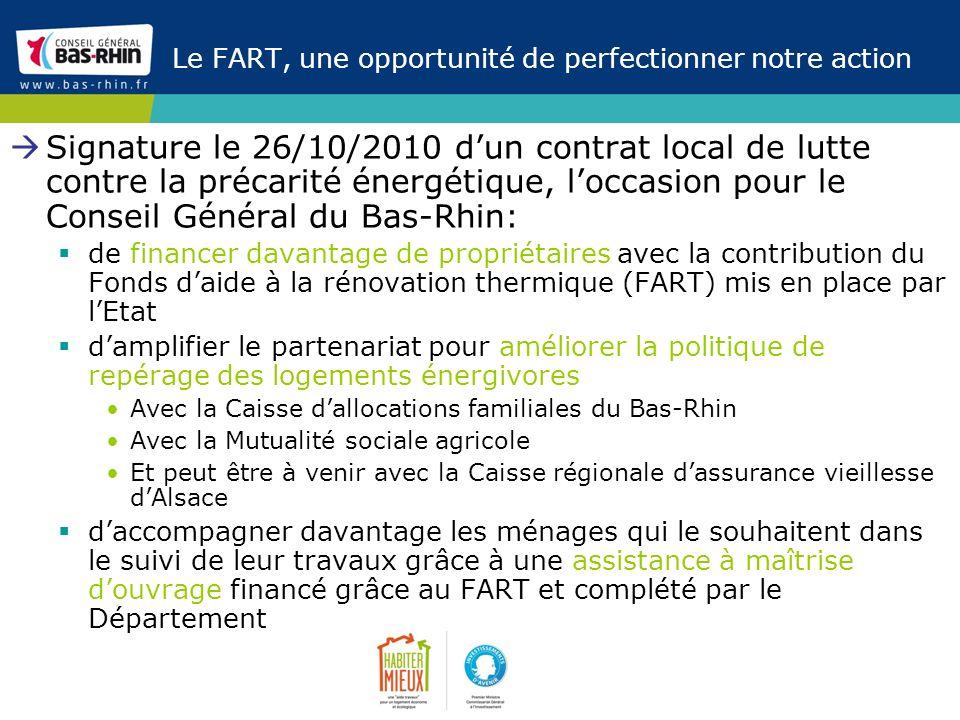 Le FART, une opportunité de perfectionner notre action Signature le 26/10/2010 dun contrat local de lutte contre la précarité énergétique, loccasion p