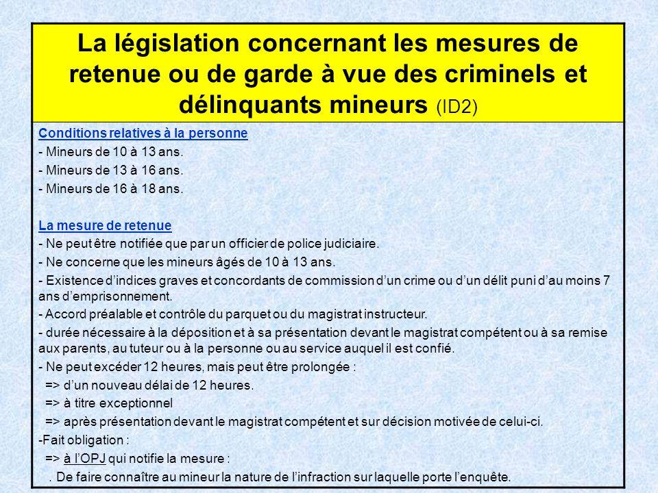 La législation concernant les mesures de retenue ou de garde à vue des criminels et délinquants mineurs (ID2) Conditions relatives à la personne - Min