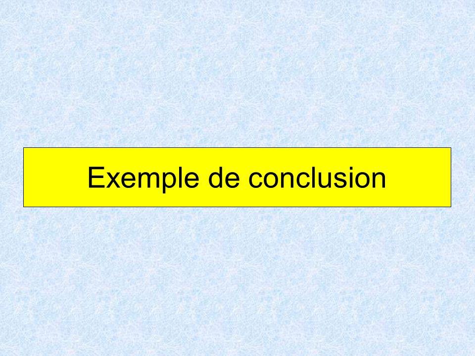 Exemple de conclusion