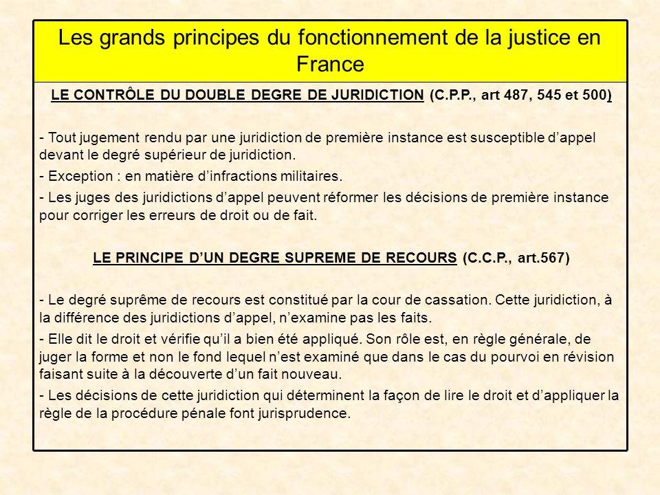 LE CONTRÔLE DU DOUBLE DEGRE DE JURIDICTION (C.P.P., art 487, 545 et 500) - Tout jugement rendu par une juridiction de première instance est susceptible dappel devant le degré supérieur de juridiction.