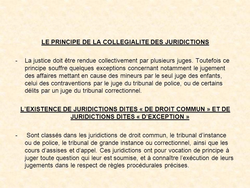 LE PRINCIPE DE LA COLLEGIALITE DES JURIDICTIONS -La justice doit être rendue collectivement par plusieurs juges.