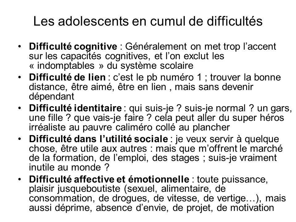 Les adolescents en cumul de difficultés Difficulté cognitive : Généralement on met trop laccent sur les capacités cognitives, et lon exclut les « indo