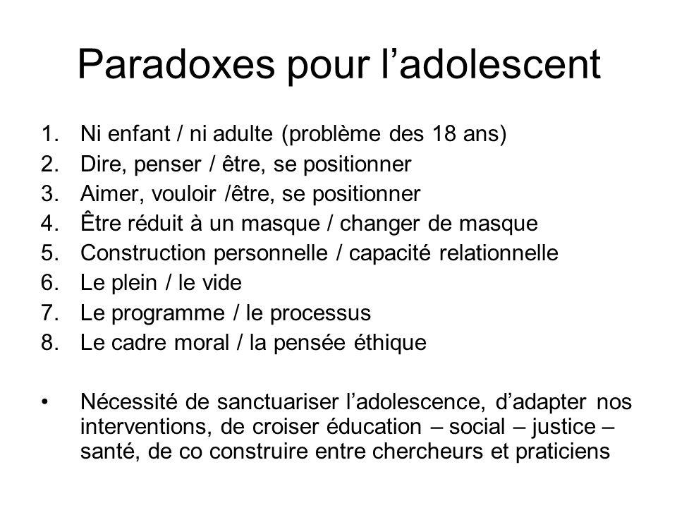 Paradoxes pour ladolescent 1.Ni enfant / ni adulte (problème des 18 ans) 2.Dire, penser / être, se positionner 3.Aimer, vouloir /être, se positionner