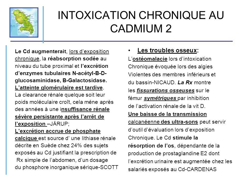 INTOXICATION CHRONIQUE AU CADMIUM 2 Le Cd augmenterait, lors dexposition chronique, la réabsorption sodée au niveau du tube proximal et lexcrétion den