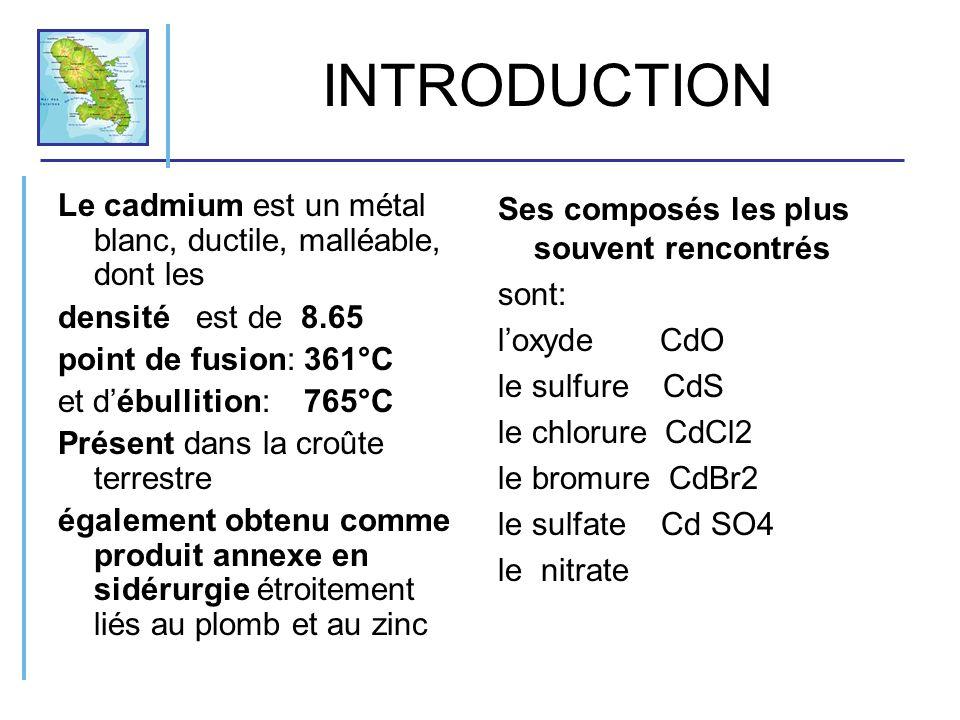 INTRODUCTION Le cadmium est un métal blanc, ductile, malléable, dont les densité est de 8.65 point de fusion: 361°C et débullition: 765°C Présent dans