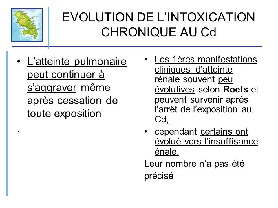 EVOLUTION DE LINTOXICATION CHRONIQUE AU Cd Latteinte pulmonaire peut continuer à saggraver même après cessation de toute exposition. Les 1ères manifes