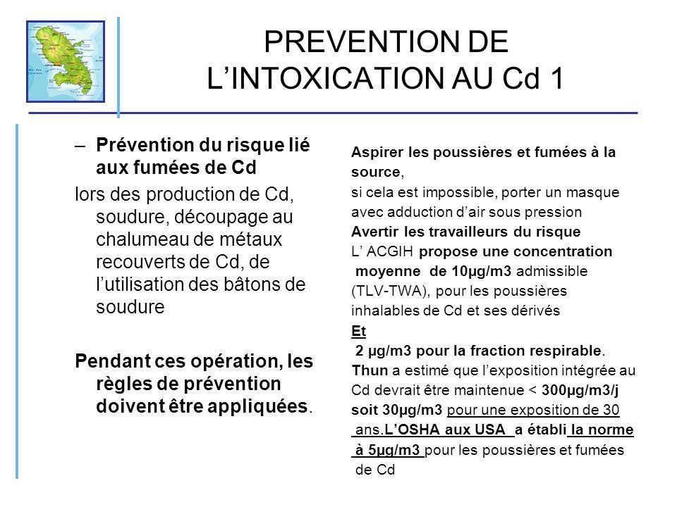 PREVENTION DE LINTOXICATION AU Cd 1 –Prévention du risque lié aux fumées de Cd lors des production de Cd, soudure, découpage au chalumeau de métaux re