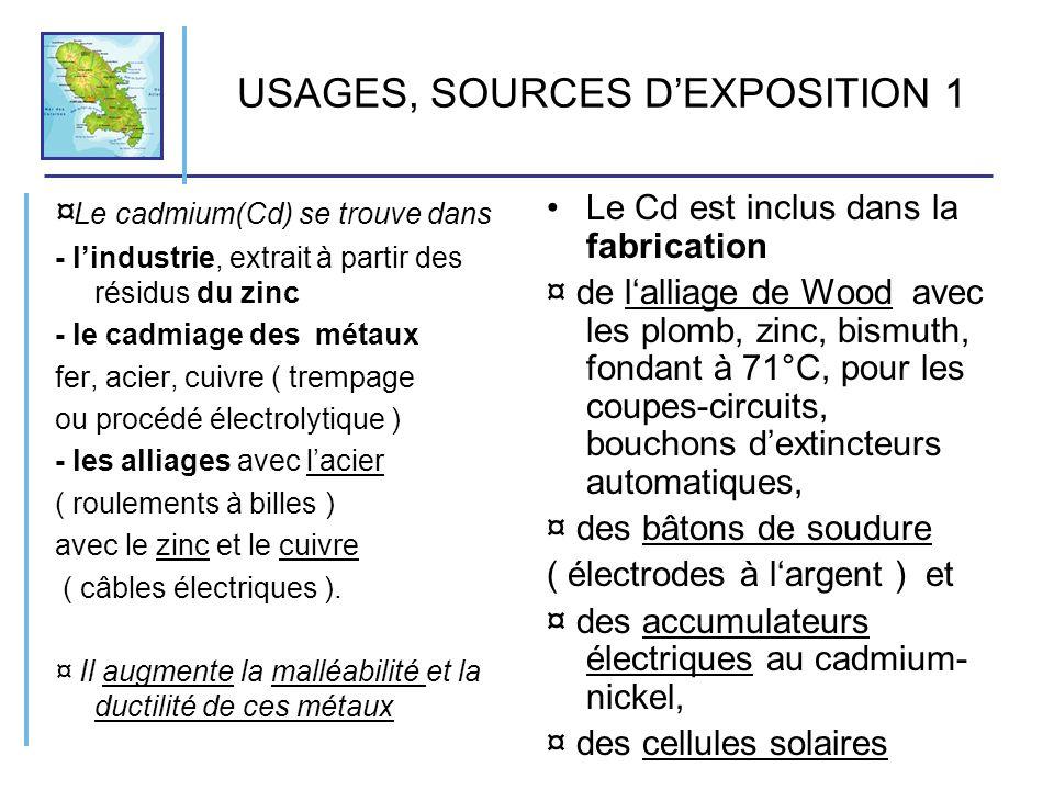USAGES, SOURCES DEXPOSITION 2 Le Cadmium est utilisé dans: ¤ l industrie atomique ( captage de lexcès de neutrons ) ¤ le pigment jaune des peintures (CdS ), panneaux de signalisation lumineux, jouet plastique dur, ¤ lors du soudage et découpages dalliages au Cd ¤ comme stabilisant des matières plastiques, ¤ comme contaminant dans les engrais phosphatés et boues dincinérateurs utilisées en engrais