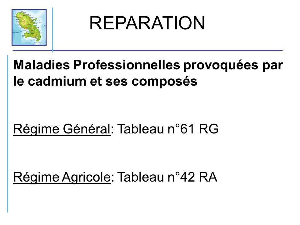 Maladies Professionnelles provoquées par le cadmium et ses composés Régime Général: Tableau n°61 RG Régime Agricole: Tableau n°42 RA REPARATION