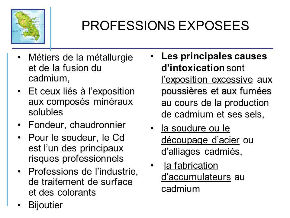 PROFESSIONS EXPOSEES Métiers de la métallurgie et de la fusion du cadmium, Et ceux liés à lexposition aux composés minéraux solubles Fondeur, chaudron