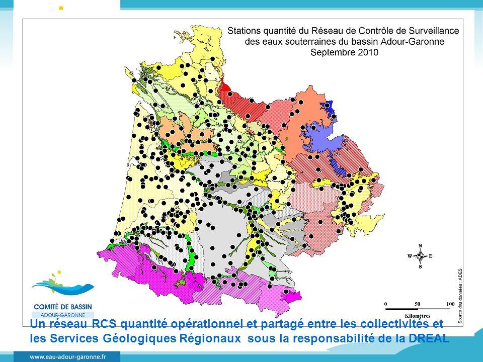 Un réseau RCS quantité opérationnel et partagé entre les collectivités et les Services Géologiques Régionaux sous la responsabilité de la DREAL