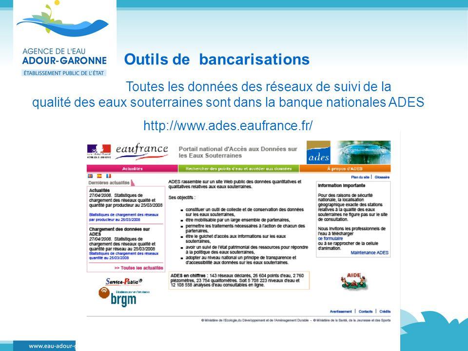 Outils de bancarisations Toutes les données des réseaux de suivi de la qualité des eaux souterraines sont dans la banque nationales ADES http://www.ad