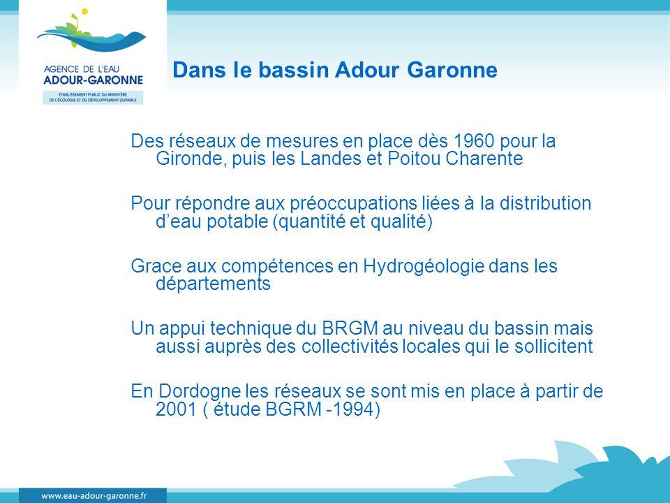 Dans le bassin Adour Garonne Des réseaux de mesures en place dès 1960 pour la Gironde, puis les Landes et Poitou Charente Pour répondre aux préoccupat