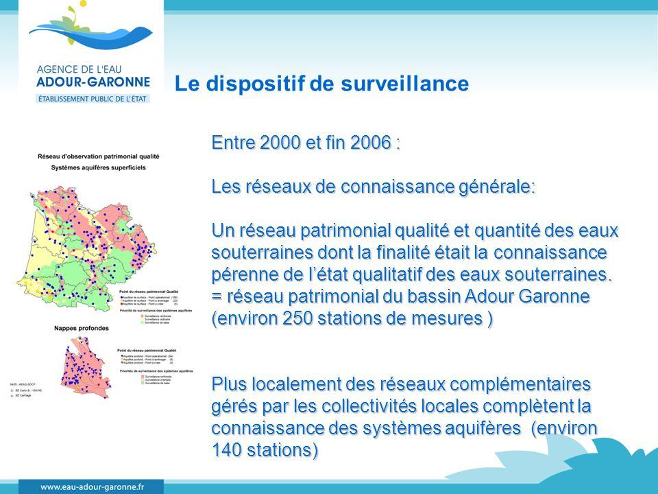 Le dispositif de surveillance Entre 2000 et fin 2006 : Les réseaux de connaissance générale: Un réseau patrimonial qualité et quantité des eaux souter