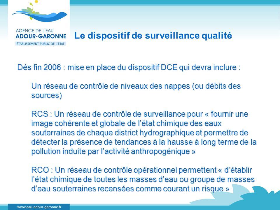 Le dispositif de surveillance qualité Dés fin 2006 : mise en place du dispositif DCE qui devra inclure : Un réseau de contrôle de niveaux des nappes (