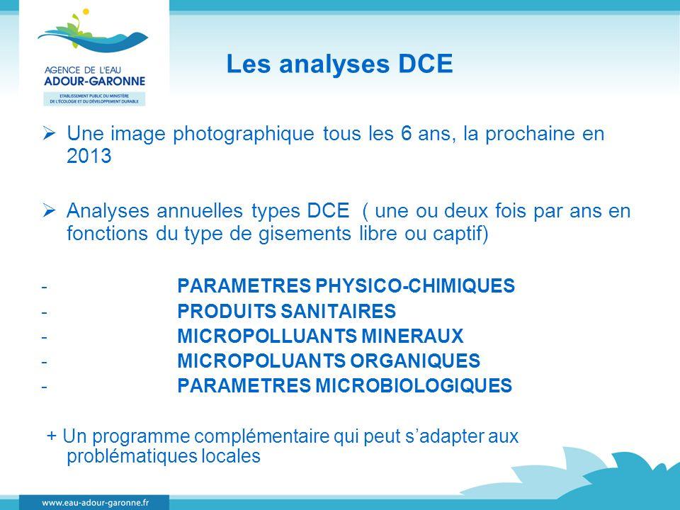 Les analyses DCE Une image photographique tous les 6 ans, la prochaine en 2013 Analyses annuelles types DCE ( une ou deux fois par ans en fonctions du
