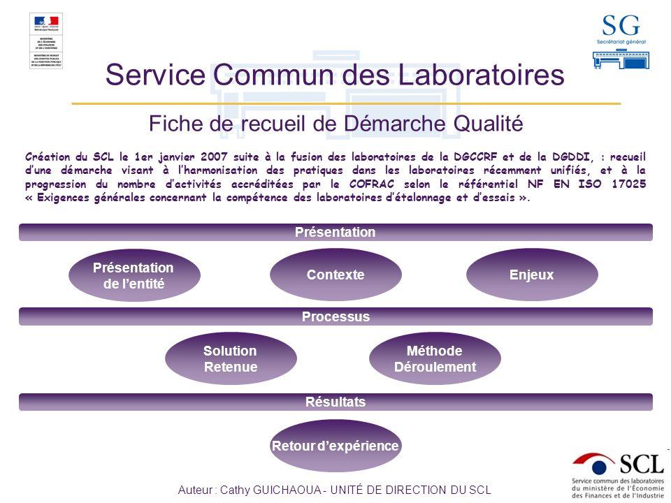2 / 6 Sommaire Service Commun des Laboratoires Le service commun des laboratoires (SCL) est un service à compétence nationale du ministère de lÉconomie, des Finances et de lIndustrie et du ministère du Budget, des Comptes publics et de la Réforme de lÉtat.
