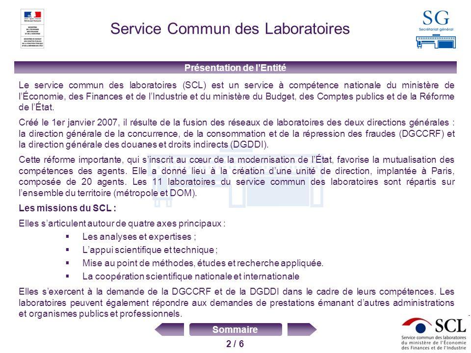 3 / 6 Sommaire Service Commun des Laboratoires Fusion des laboratoires de la DGCCRF ( 9 laboratoires ) et de la DGDDI (9 laboratoires), parfois regroupés sur un seul site : 11 sites au total, dont 2 récents: Lyon (création) ouvert en 2003 et Bordeaux (nouvelle construction) inauguré en 2006 Mutualisation des moyens (ressources humaines et équipements scientifiques) Disparité dans lorganisation, les objectifs de lanalyse, la prise en compte des exigences de laccréditation Arrivée dun nouveau chef de service en 2009 Contexte de la démarche Qualité Enjeux Réorganisation des activités et définition de pôles de compétence Mise à niveau de tous les laboratoires en vue dune extension des accréditations Harmonisation des pratiques sur tous les sites Amélioration du pilotage des processus pour répondre aux objectifs du Contrat dobjectifs pluriannuel (COP) signé par les 2 directions de rattachement Création dune culture commune