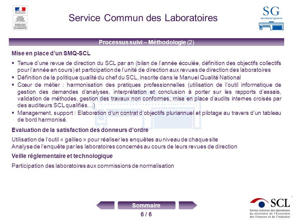6 / 6 Sommaire Service Commun des Laboratoires Processus suivi – Méthodologie (2) Mise en place dun SMQ-SCL Tenue dune revue de direction du SCL par a
