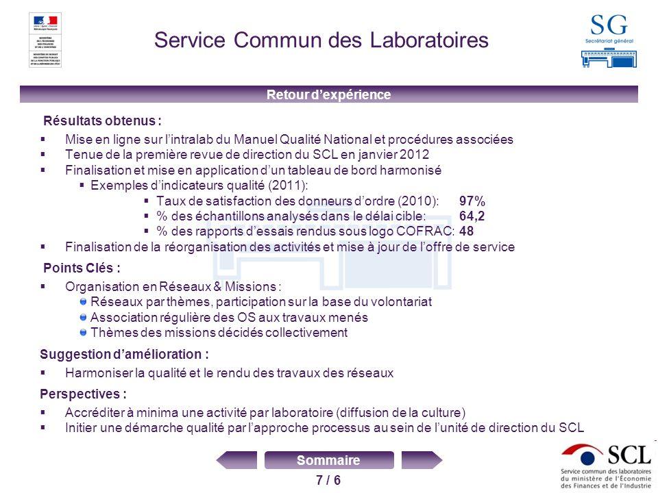 7 / 6 Sommaire Service Commun des Laboratoires Résultats obtenus : Mise en ligne sur lintralab du Manuel Qualité National et procédures associées Tenu