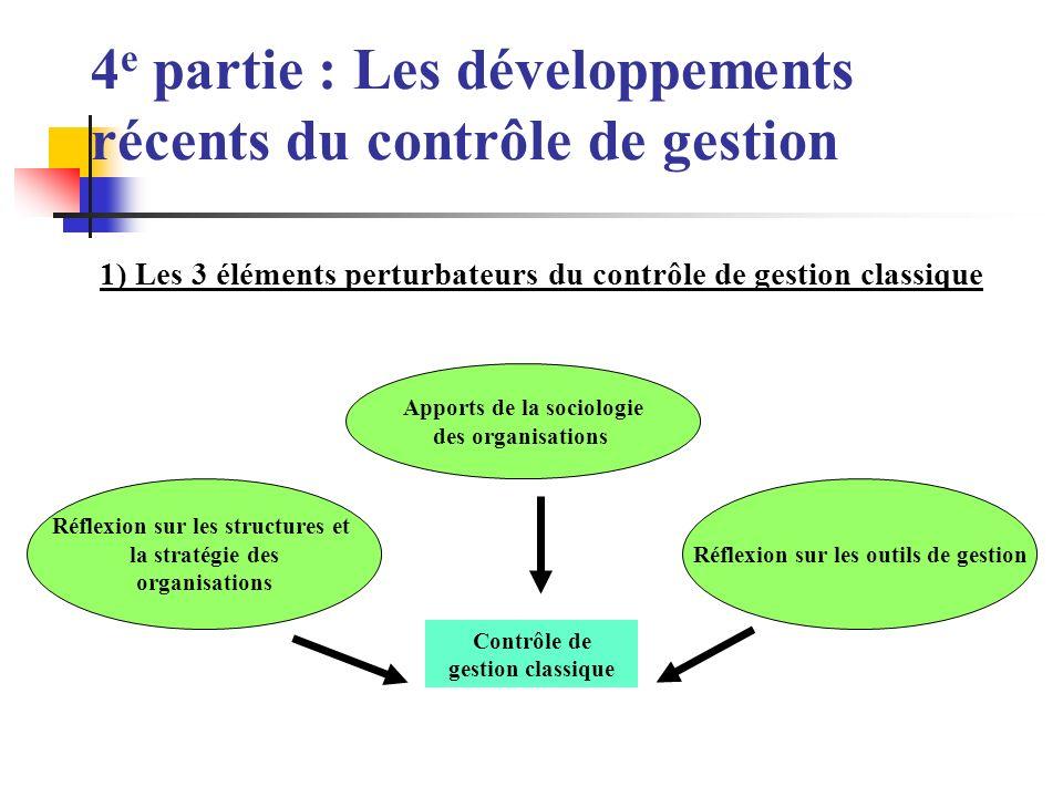 4 e partie : Les développements récents du contrôle de gestion 1) Les 3 éléments perturbateurs du contrôle de gestion classique Contrôle de gestion classique Apports de la sociologie des organisations Réflexion sur les structures et la stratégie des organisations Réflexion sur les outils de gestion