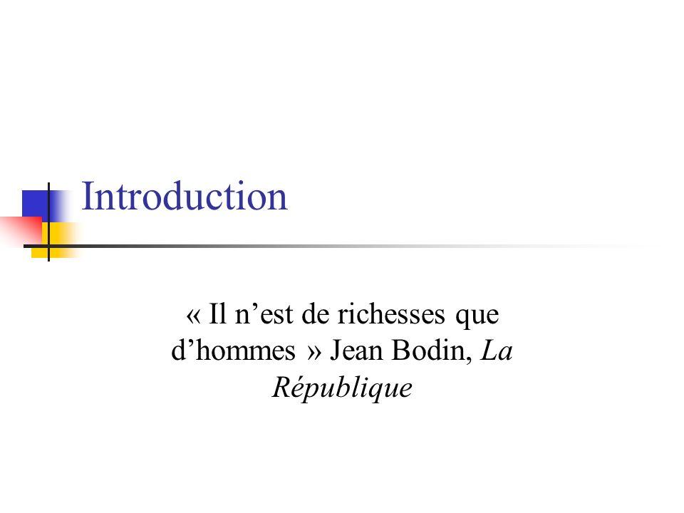 Introduction « Il nest de richesses que dhommes » Jean Bodin, La République