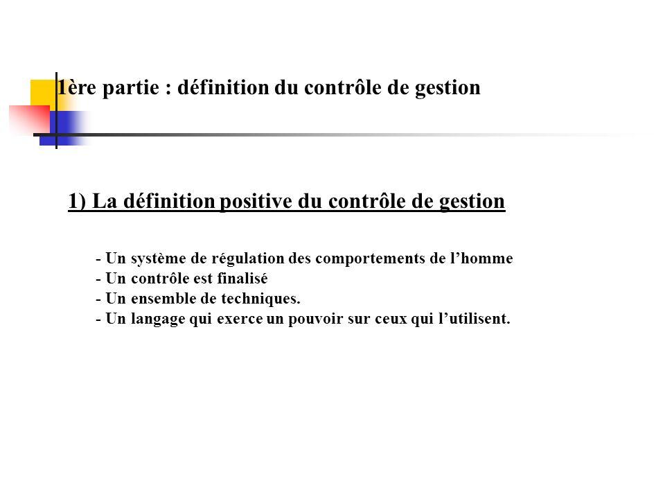 1ère partie : définition du contrôle de gestion 1) La définition positive du contrôle de gestion - Un système de régulation des comportements de lhomme - Un contrôle est finalisé - Un ensemble de techniques.