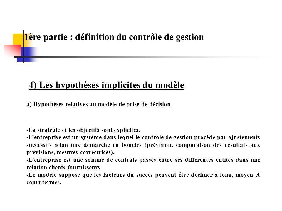 1ère partie : définition du contrôle de gestion 4) Les hypothèses implicites du modèle -La stratégie et les objectifs sont explicités. -Lentreprise es