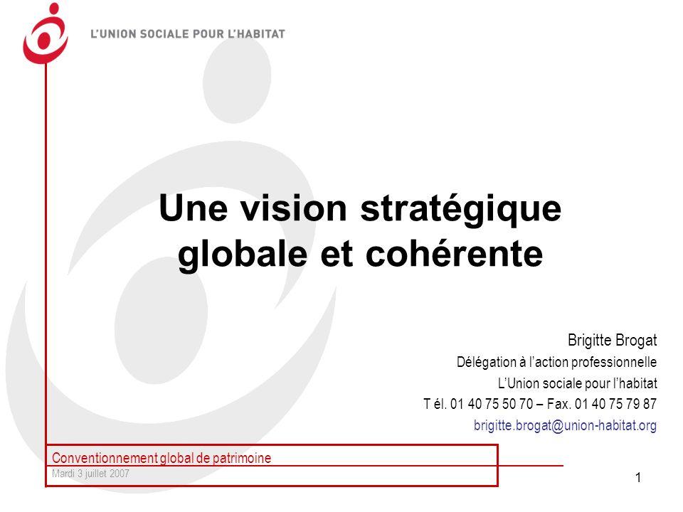 Conventionnement global de patrimoine Mardi 3 juillet 2007 1 Une vision stratégique globale et cohérente Brigitte Brogat Délégation à laction professi