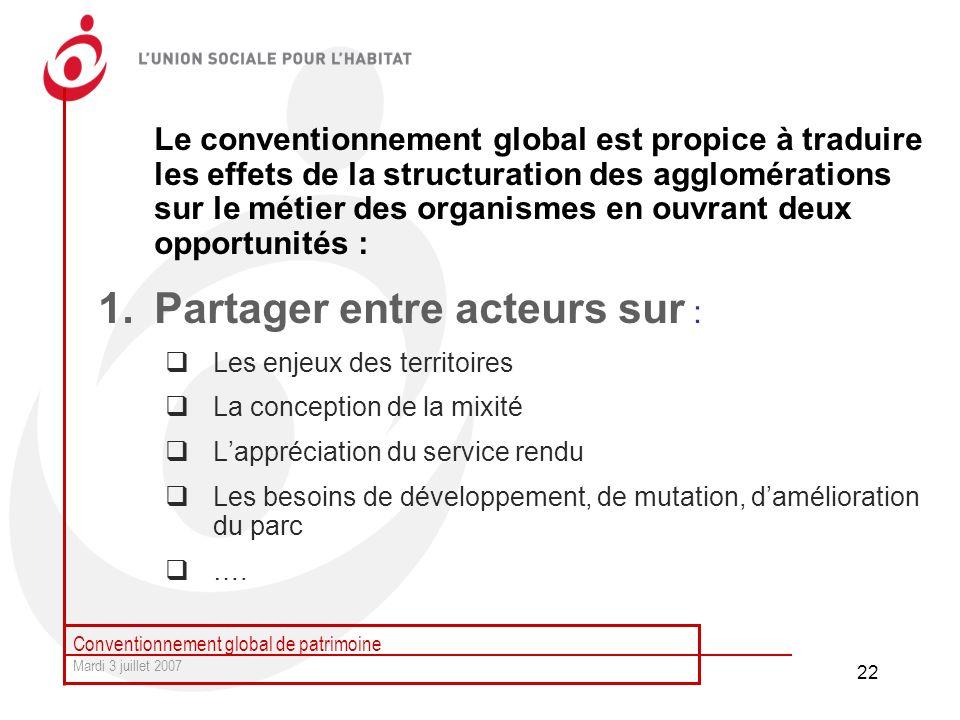 Conventionnement global de patrimoine Mardi 3 juillet 2007 22 Le conventionnement global est propice à traduire les effets de la structuration des agg