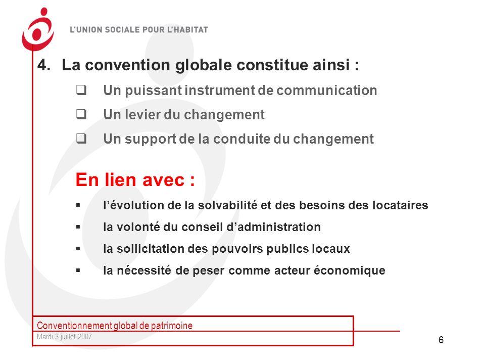 Conventionnement global de patrimoine Mardi 3 juillet 2007 6 4.La convention globale constitue ainsi : Un puissant instrument de communication Un levi