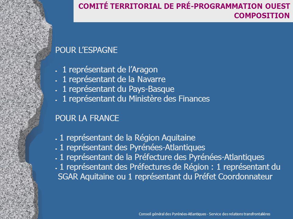 COMITÉ TERRITORIAL DE PRÉ-PROGRAMMATION OUEST COMPOSITION POUR LESPAGNE 1 représentant de lAragon 1 représentant de la Navarre 1 représentant du Pays-Basque 1 représentant du Ministère des Finances POUR LA FRANCE 1 représentant de la Région Aquitaine 1 représentant des Pyrénées-Atlantiques 1 représentant de la Préfecture des Pyrénées-Atlantiques 1 représentant des Préfectures de Région : 1 représentant du SGAR Aquitaine ou 1 représentant du Préfet Coordonnateur Conseil général des Pyrénées-Atlantiques - Service des relations transfrontalières