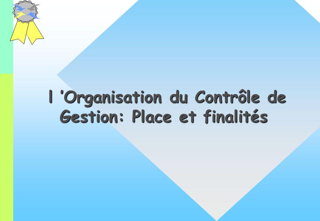 l Organisation du Contrôle de Gestion: Place et finalités l Organisation du Contrôle de Gestion: Place et finalités