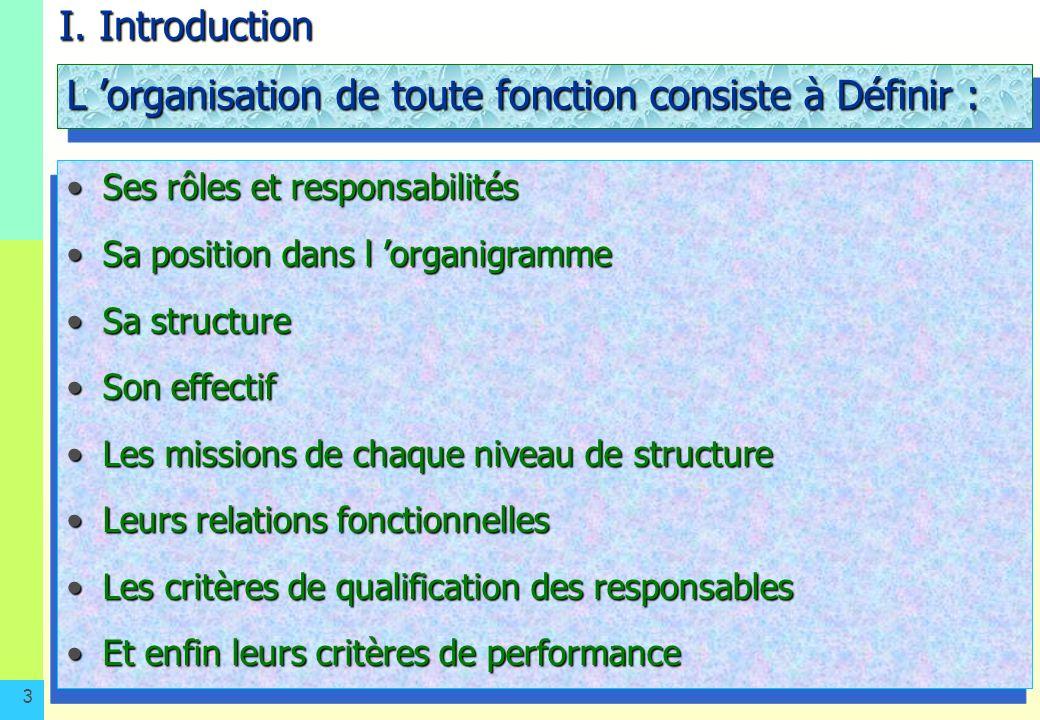 3 I. Introduction L organisation de toute fonction consiste à Définir : Ses rôles et responsabilitésSes rôles et responsabilités Sa position dans l or