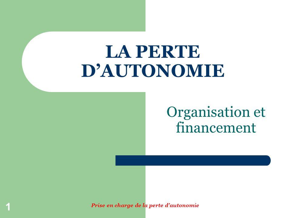 1 LA PERTE DAUTONOMIE Organisation et financement Prise en charge de la perte dautonomie