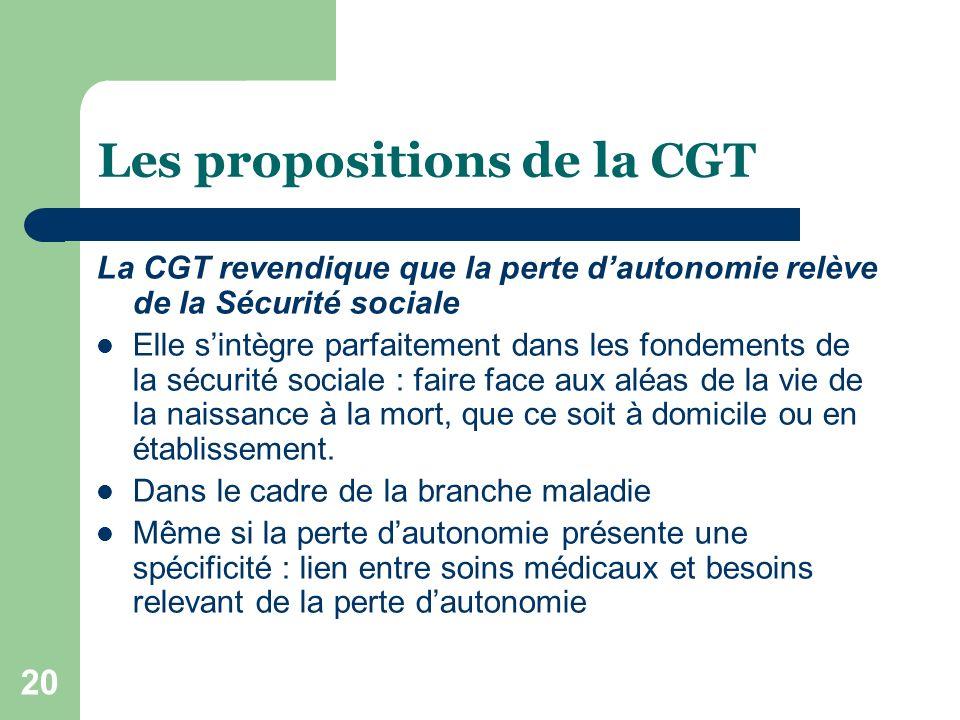 20 Les propositions de la CGT La CGT revendique que la perte dautonomie relève de la Sécurité sociale Elle sintègre parfaitement dans les fondements d