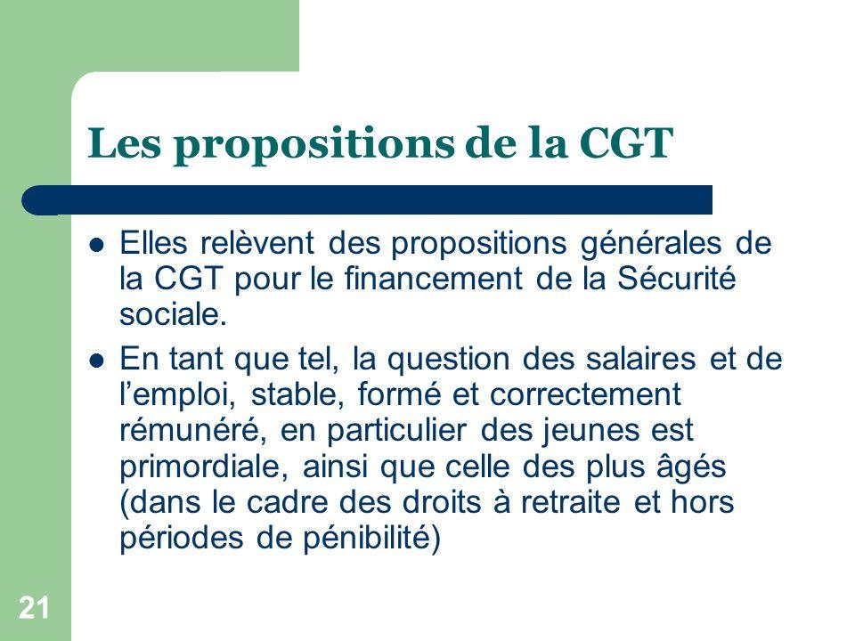 21 Les propositions de la CGT Elles relèvent des propositions générales de la CGT pour le financement de la Sécurité sociale.