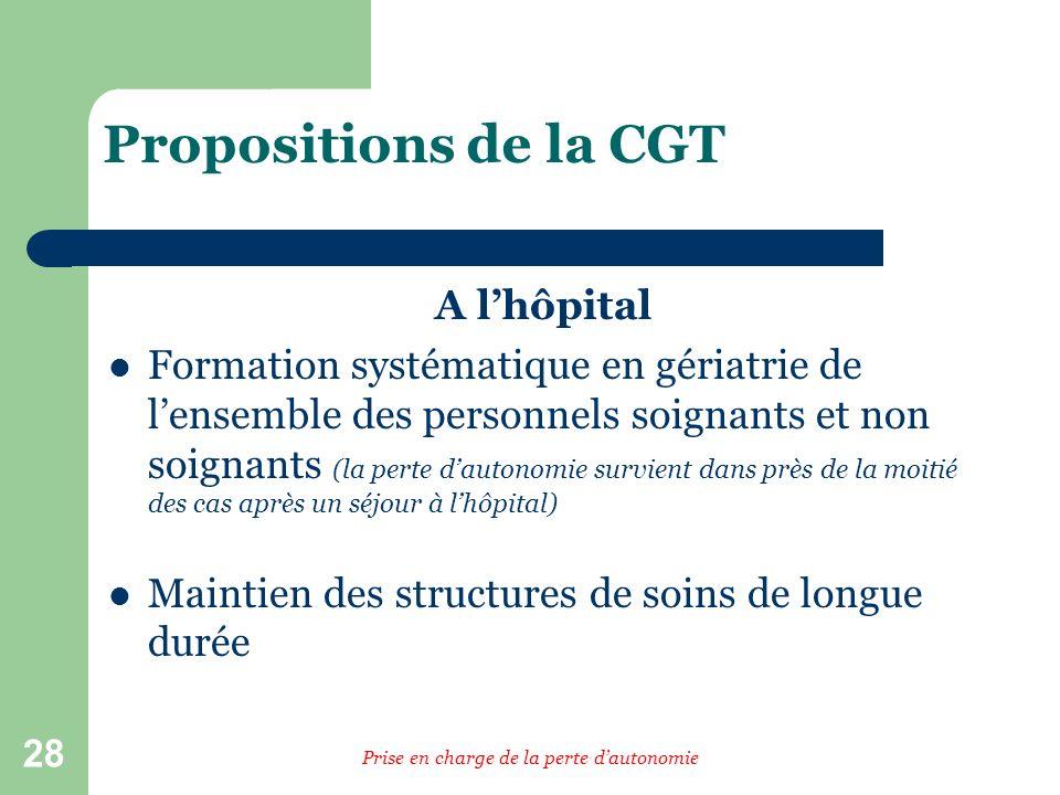 28 Propositions de la CGT A lhôpital Formation systématique en gériatrie de lensemble des personnels soignants et non soignants (la perte dautonomie s