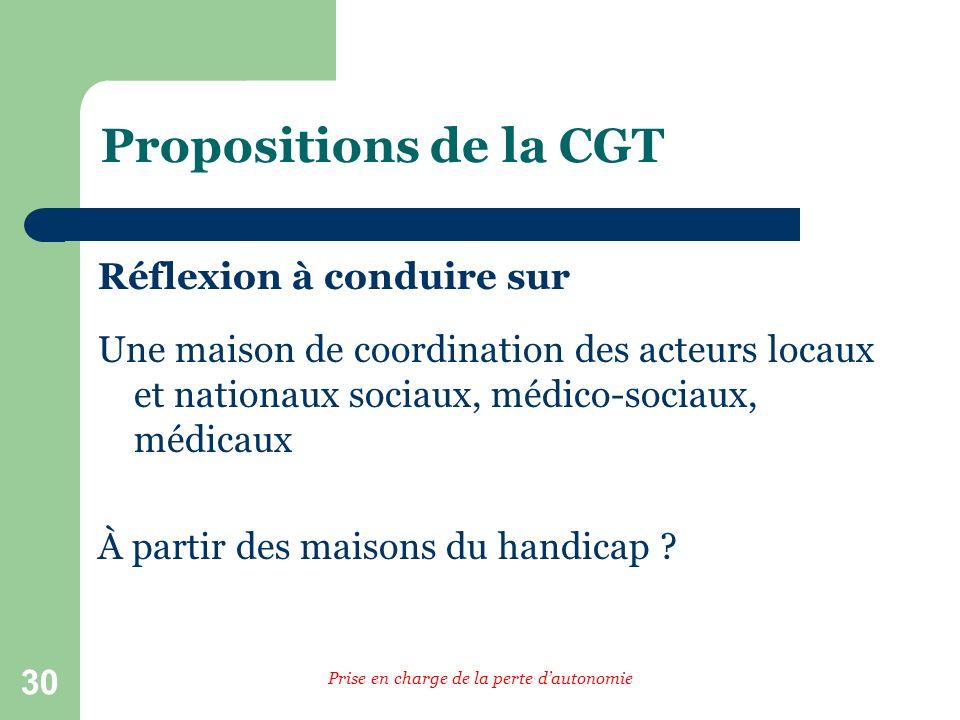 30 Propositions de la CGT Réflexion à conduire sur Une maison de coordination des acteurs locaux et nationaux sociaux, médico-sociaux, médicaux À partir des maisons du handicap .