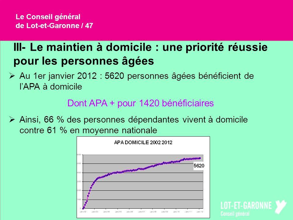 Le Conseil général de Lot-et-Garonne / 47 III- Le maintien à domicile : une priorité réussie pour les personnes âgées Au 1er janvier 2012 : 5620 perso