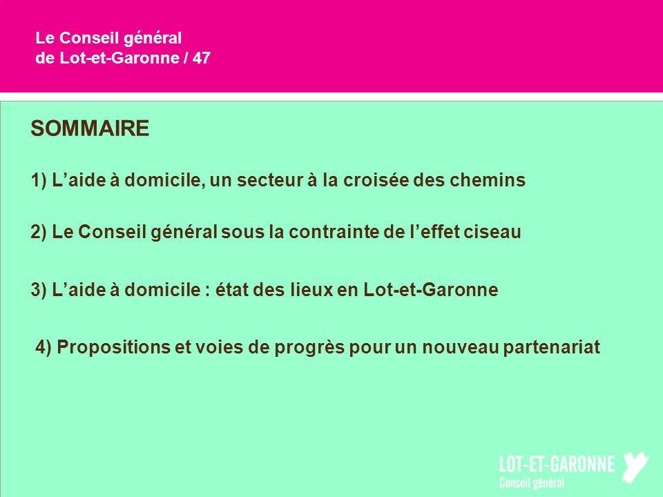 Le Conseil général de Lot-et-Garonne / 47 SOMMAIRE 2) Le Conseil général sous la contrainte de leffet ciseau 3) Laide à domicile : état des lieux en L