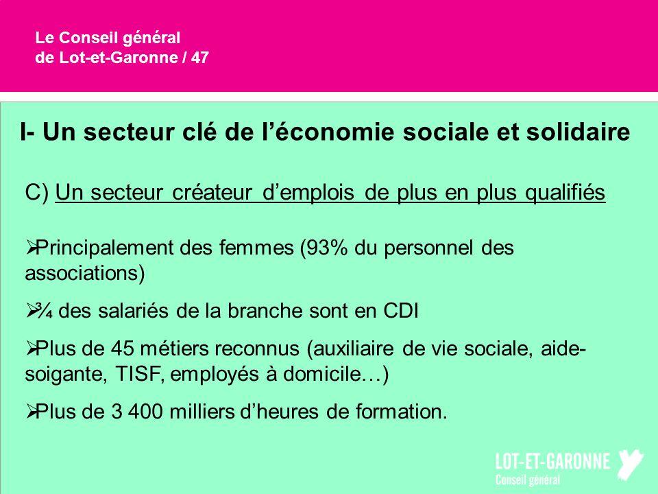 Le Conseil général de Lot-et-Garonne / 47 I- Un secteur clé de léconomie sociale et solidaire C) Un secteur créateur demplois de plus en plus qualifié