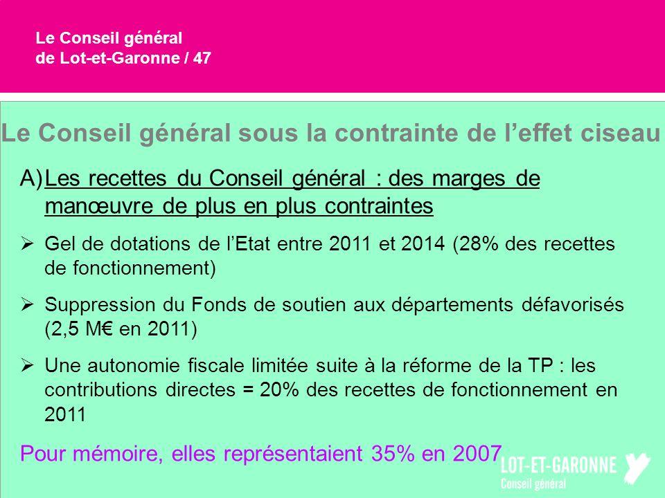 Le Conseil général de Lot-et-Garonne / 47 Le Conseil général sous la contrainte de leffet ciseau A)Les recettes du Conseil général : des marges de man