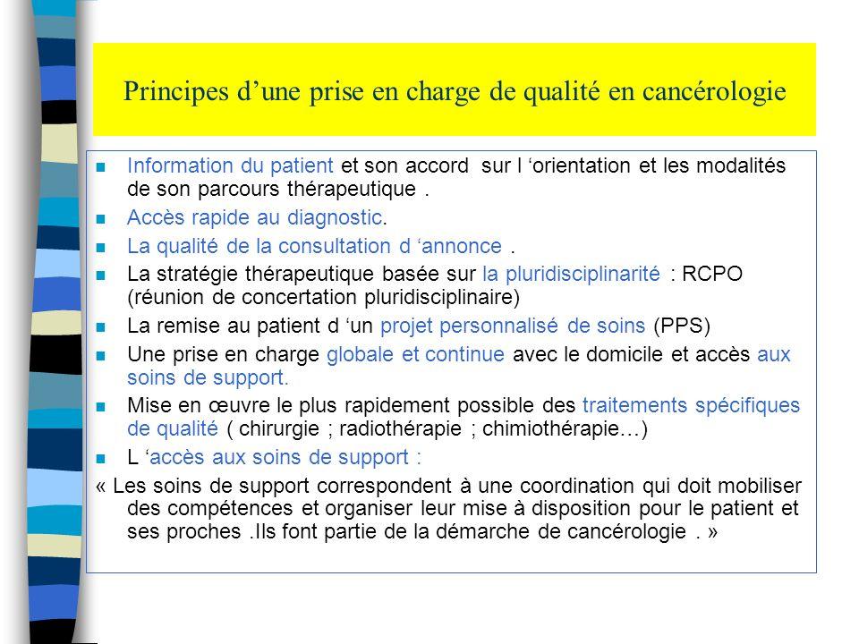 Principes dune prise en charge de qualité en cancérologie n Information du patient et son accord sur l orientation et les modalités de son parcours th