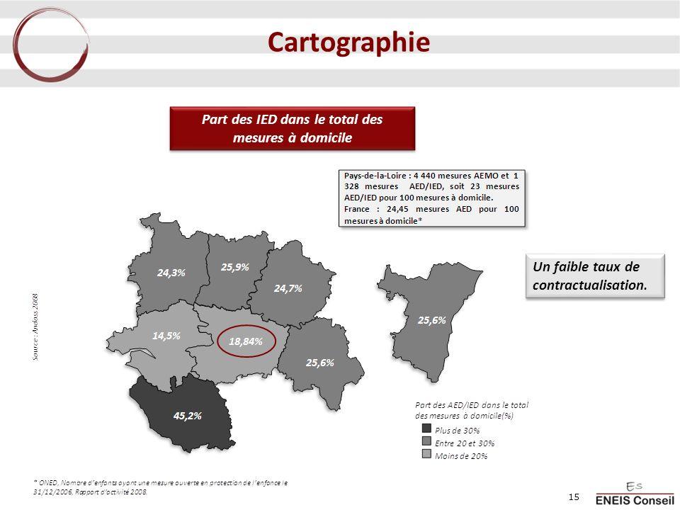 Part des IED dans le total des mesures à domicile Un faible taux de contractualisation. 15 Cartographie