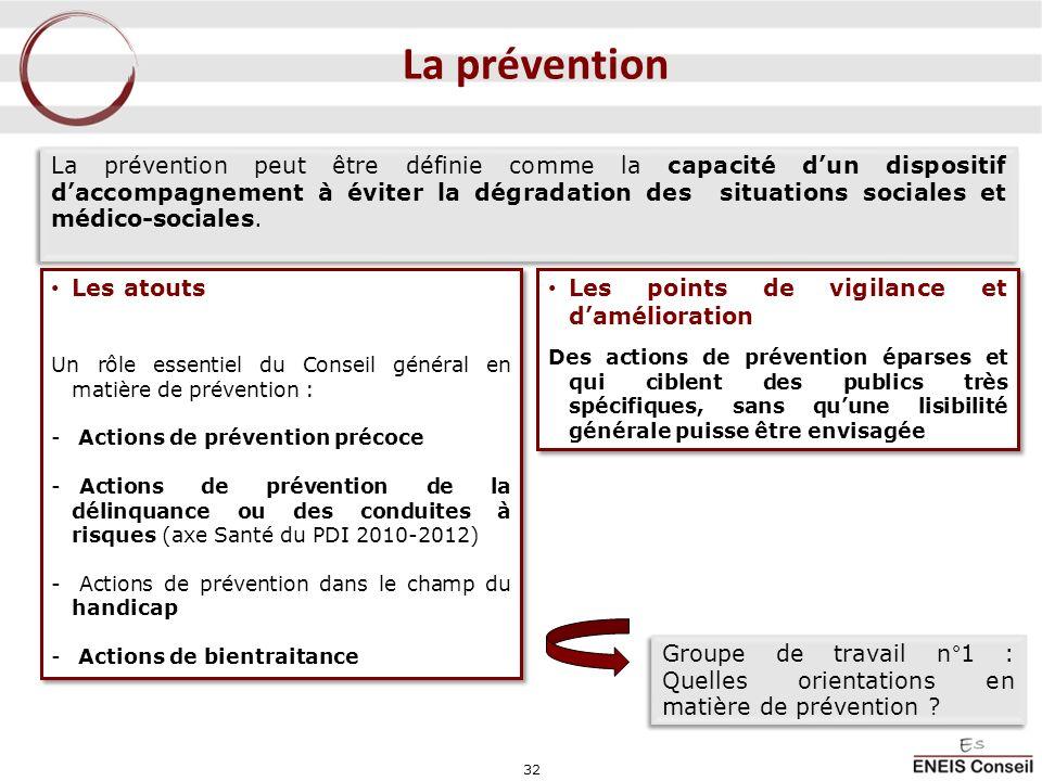 32 La prévention La prévention peut être définie comme la capacité dun dispositif daccompagnement à éviter la dégradation des situations sociales et m