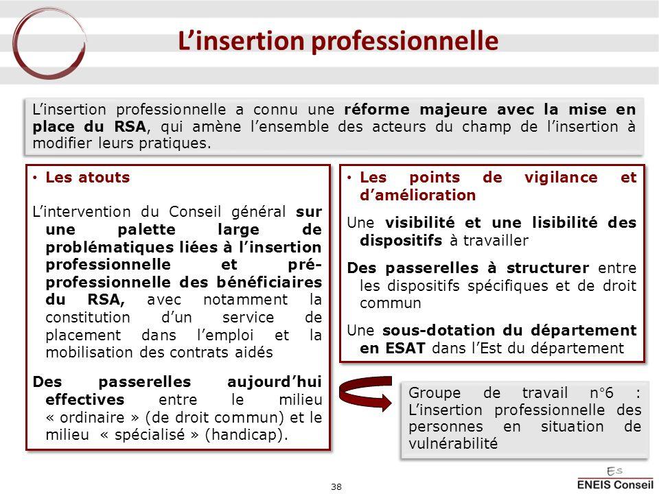 38 Linsertion professionnelle Linsertion professionnelle a connu une réforme majeure avec la mise en place du RSA, qui amène lensemble des acteurs du
